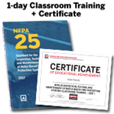 NFPA 25: Inspection, Testing, and Maintenance of Water-Based Fire Protection Systems (2017) 1-Day Classroom Training with Certificate of Educational Achievement