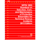 NFPA 1855: Standard on Selection, Care, and Maintenance of Protective Ensembles for Technical Rescue