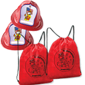 Sparky Fire Hats and Drawstring Sports Bags Set